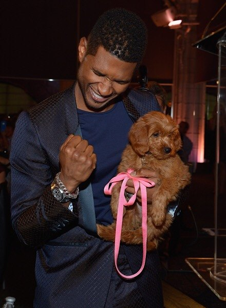 usher and puppy