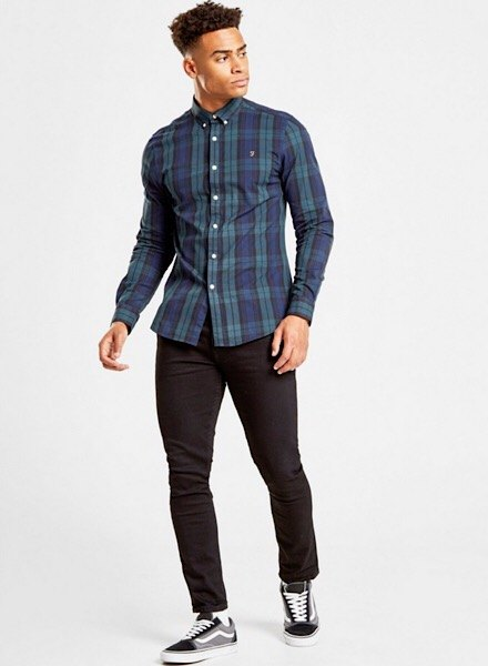 farah checked shirt and jeans